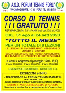 Corso tennis gratuito